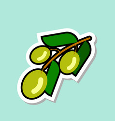 Green olive sticker on blue background colorful vector
