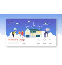 green renewable solar and wind energy landing page vector image