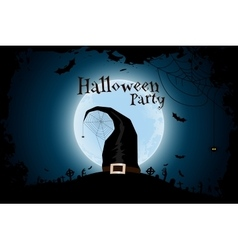 Halloween Zombie Party Poster with Hat vector