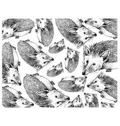 Hand drawn wallpaper background autumn hedgehog vector