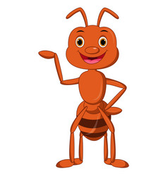 happy ant cartoon presenting vector image