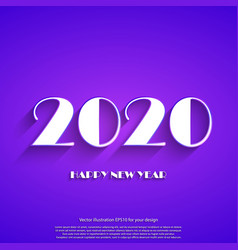 happy new year 2020 white text on violet vector image