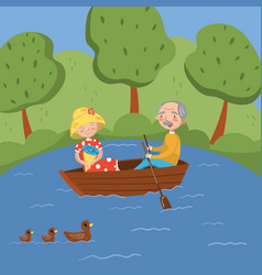 happy senior couple rowing a boat on lake vector image