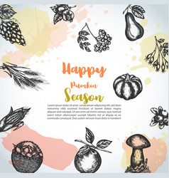 harvest background hand drawn sketch autumn vector image