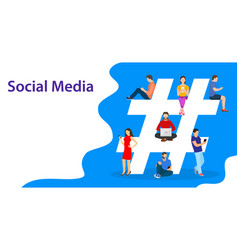 Hashtag concept people using mobile vector