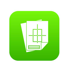 Home construction project icon digital green vector