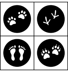 Human and bird feet cat dog paws black white flat vector