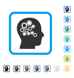 Human mind gears framed icon vector
