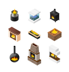 isometric fireplace icon set vector image