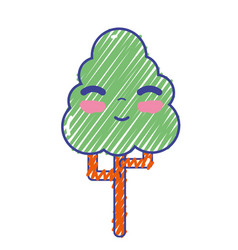 kawaii cute happy tree ecology vector image