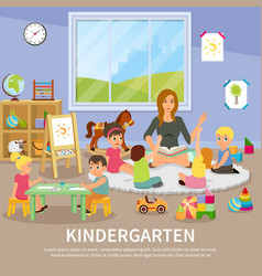 kindergarten flat composition vector image