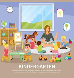Kindergarten flat composition vector