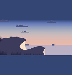 Landscape hills blue sea background vector