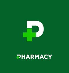 letter p pharmacy logo with pharmacy cross vector image