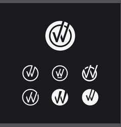 letter w check mark logo icon template set vector image