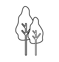 Line natural trees with botany icons vector