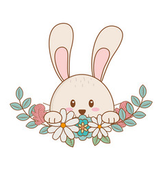 Little rabbit with flowers easter character vector