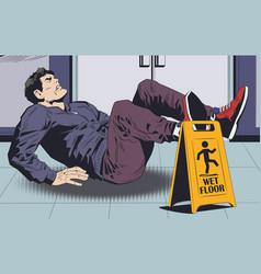 Man falls on wet floor warning sign stock vector