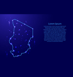 map chad from the contours network blue luminous vector image