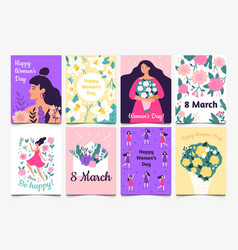 march 8 cards lady with flowers international vector image