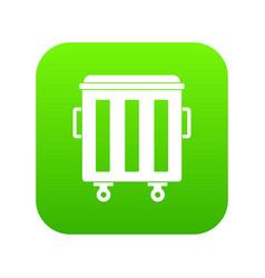 metal trashcan icon digital green vector image