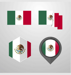 mexico flag design set vector image