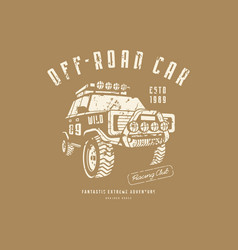Off-road car emblem with rough texture for t-shirt vector