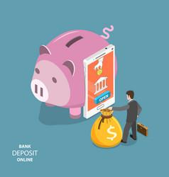 Online bank deposit flat isometric concept vector