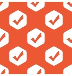 Orange hexagon tick mark pattern vector image
