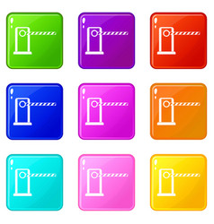 Parking entrance icons 9 set vector