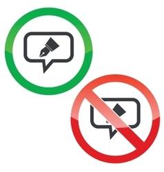 Pen nib message permission signs vector