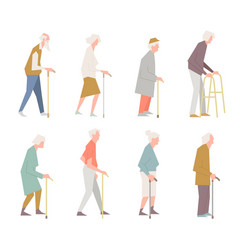 People on the street old people in different vector