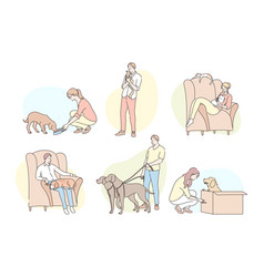 people with pets set concept vector image
