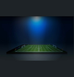 Phone on football arena field with bright stadium vector