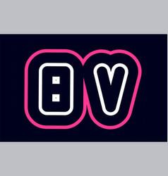 pink white blue alphabet combination letter bv b vector image