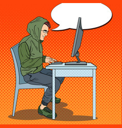 Pop art hacker stealing data from computer vector