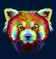 red panda graphic abstract hand-drawn portrait vector image