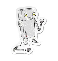 Retro distressed sticker of a cartoon broken robot vector