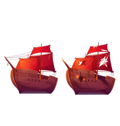 retro wooden ships with red scarlet sail cartoon vector image