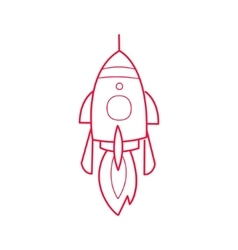 Rocket Ship Simple Contour Drawing vector