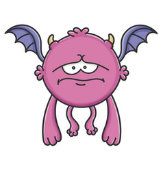 Sad purple flying cartoon bat monster vector