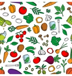 Seamless fresh and pickled vegetables pattern vector