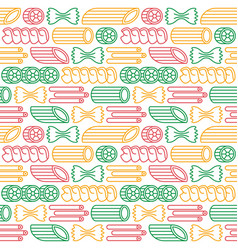 Seamless pattern with varieties of pasta vector