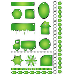 set green shapes objects isolated white text vector image