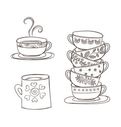 set of cups and mug vector image
