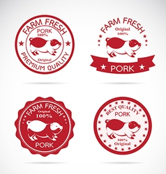 Set of pig label vector image