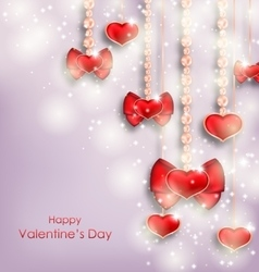 Shimmering background with hanging hearts vector