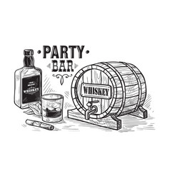 Sketch whiskey bottle and glass and wooden barrel vector