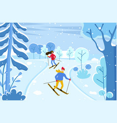 Skiing couple at ski resort skiers in winter vector
