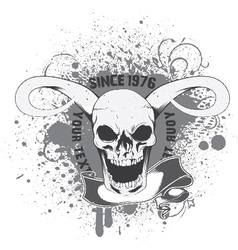 Skull with grunge and scroll vector